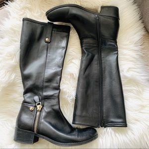 Guess tall leather boots gold zipper detail 8M